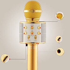 ANK  Heavy Microphone 3-in-1 Portable Handheld Karaoke Mic|Speaker for Android|iPhone|PC or All Smartphone|Handheld Wireless Microphone Mic| GOLD/ROSE GOLD