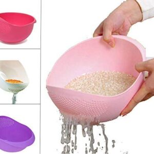 ANK Fashion ABS Plastic 11 Inch Multi Color Rice Pulses Fruits Vegetable Noodles Pasta Washing Bowl & Strainer Good Quality & Perfect Size for Storing and Straining. Colander Random Colors