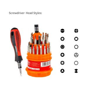 ANK Screwdriver Set, Steel 31 in 1 with 30 Screwdriver Bits, Professional Magnetic Driver Set, for PC/Household/Furniture/Tablet/Game Console/Electronic Devices