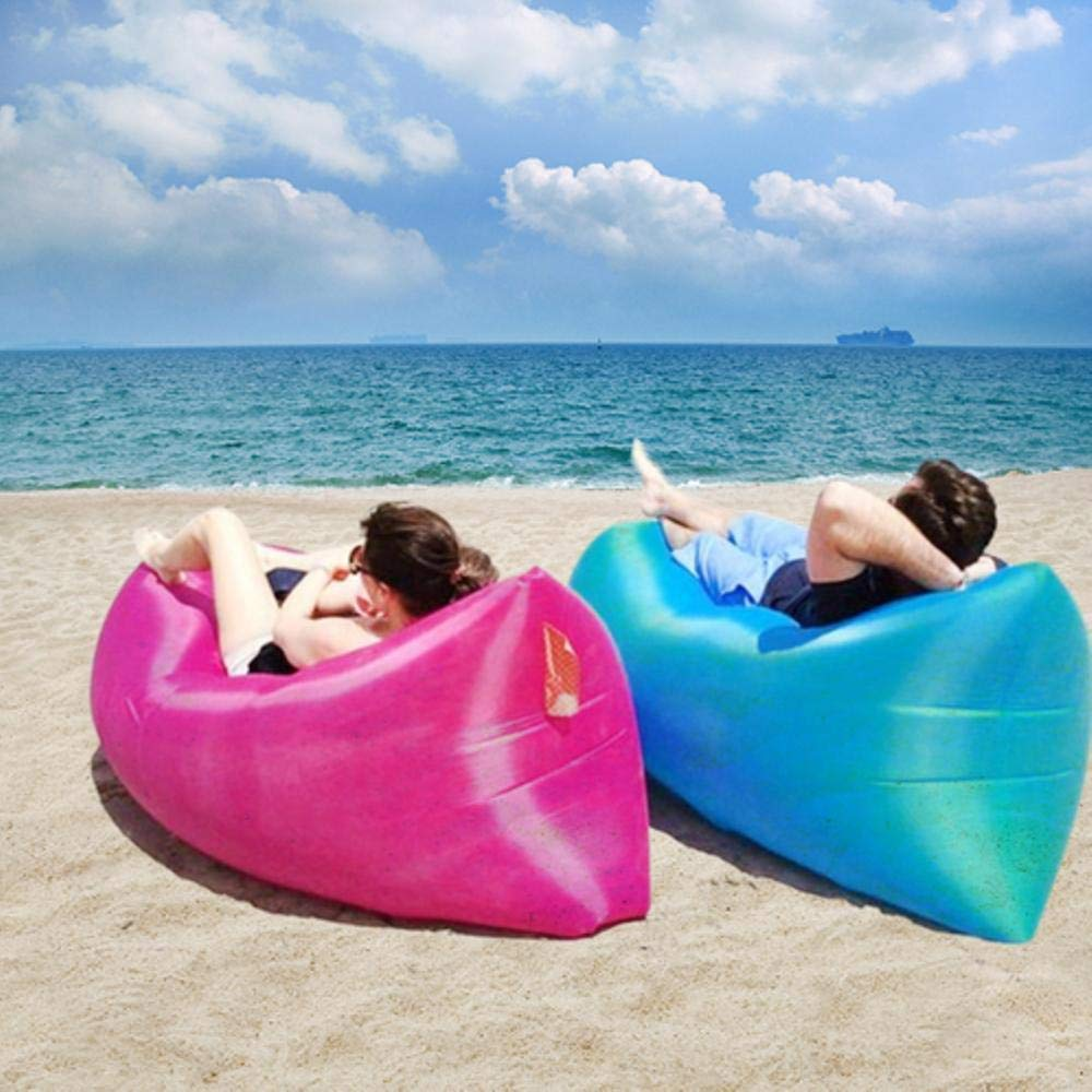 ANK  Indoor Outdoor Camping & Travelling Lazy Sleeping Bag Fast Inflatable Portable Nylon Polyester Fabric Sofa Beach Banana Lounge Sitting Air Bed Lounger (Inflated Size: 82 x 27 x 35 inch)