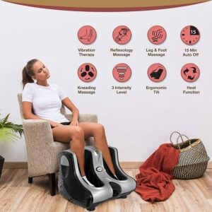 ANK Foot, Calf & Leg Massager, with Vibration & Heat, 3 Massage Levels, 4 motors (Silver-Black)