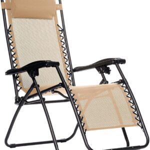 ANK Zero Gravity Reclining Lounge Portable Chair, Beige